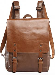 Vintage PU Leather Laptop Backpack Knapsack Rucksack Weekender Daypack Bag