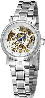 Xiangjin Wrist Watches,Winner Lady Auto Mechanical Watch Crystal Skeleton Dial Stainless Steel Watchband Wristwatch
