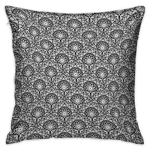 Couvre-oreillers carrés noirs et blancs Motif de fleurs dessinées à la main avec des inspirations orientales Pétales de style dentelle Housses de coussin noir et blanc Taies d'oreiller pour voiture de