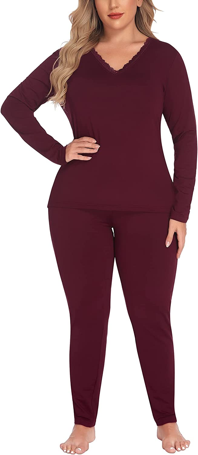 IN'VOLAND Women's Plus Washington Mall Size safety Thermal Johns Long Sets Fleece Lined