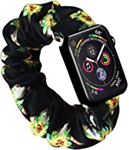 Scrunchie Watch Band for Apple Watch by Kraftychix,Cute Soft Scrunchy Watch Band Elastic Strap Compatible/Replacement with Iwatch 38mm 40mm / 42mm 44mm Series 1-5 (Sunflower Skull, 38mm/40mm)