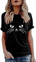 Corsion Women Summer Tops Cat Print Short Sleeve Loose Crop Top Tank Blouse T-Shirt