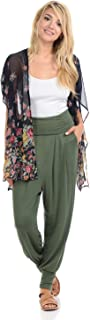 iconic luxe Women's Banded Waist Harem Jogger Pants with Pockets