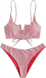Women's V-Wired Striped Reversible Two Piece Bikini Set Strappy Swimsuit