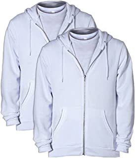 American Apparel mens Unisex Flex Fleece Zip Hoodie -DEEP PINK-XS-2PK F497
