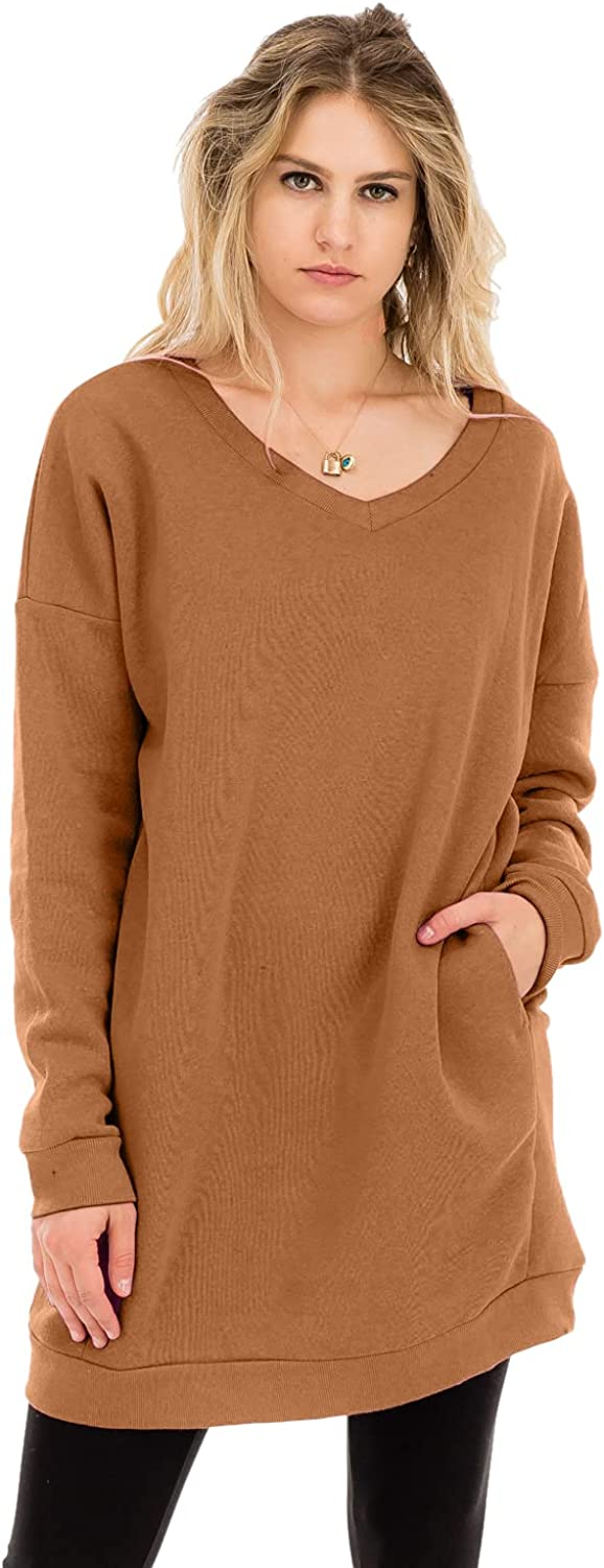 Casual Loose Fit Long Sleeves Over-Sized Tunic Sweatshirts Dk Camel 3X