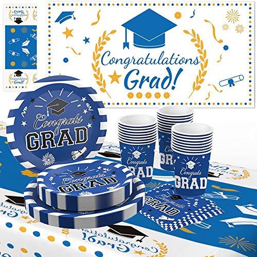 239 PCS Graduation Party Supplies 2020 Disposable Dinnerware Set Graduation Party Plates Dinner Paper Plates Napkins Cups Blue Graduation Decoration Wallpapers and Placemats for 50 Guest