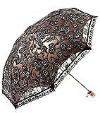 Honeystore Lace Travel Parasol Twice Folding Anti-uv Sunshade Windproof Umbrella Black