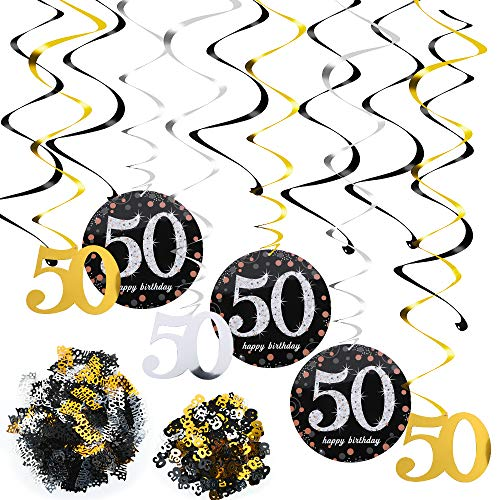 FLOFIA Kit Decoración 50 Años Cumpleaños 50 Decoración Colgante Remolinos de Techo Adornos Espirales + Número 50 + Mesa Confeti para Mujer Hombre Accesorios Cumpleaños 50 Años Fiesta
