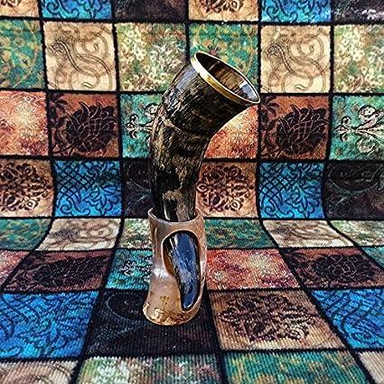 Carfar Cuerno de beber hecho a mano con soporte, bocina vikinga para adultos, cerveza Stein, tazas hechas a mano, regalos para amantes de juegos de tronos