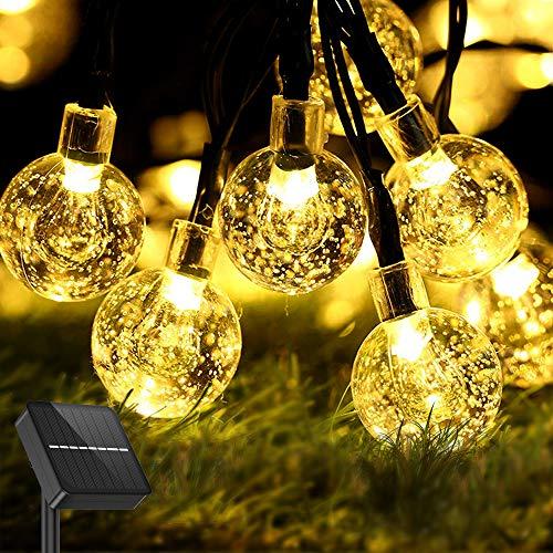 Aerb Solar lichterkette aussen: 50LEDS 30FT Lichterkette solar mit UPGRADE Solarpanel für Balkon, Garten, Hochzeit, Party