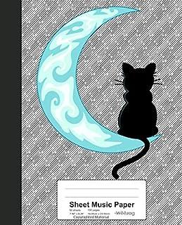 Sheet Music Paper: Blue Moon Black Cat Sailor Book (Weezag Sheet Music Paper Notebook)