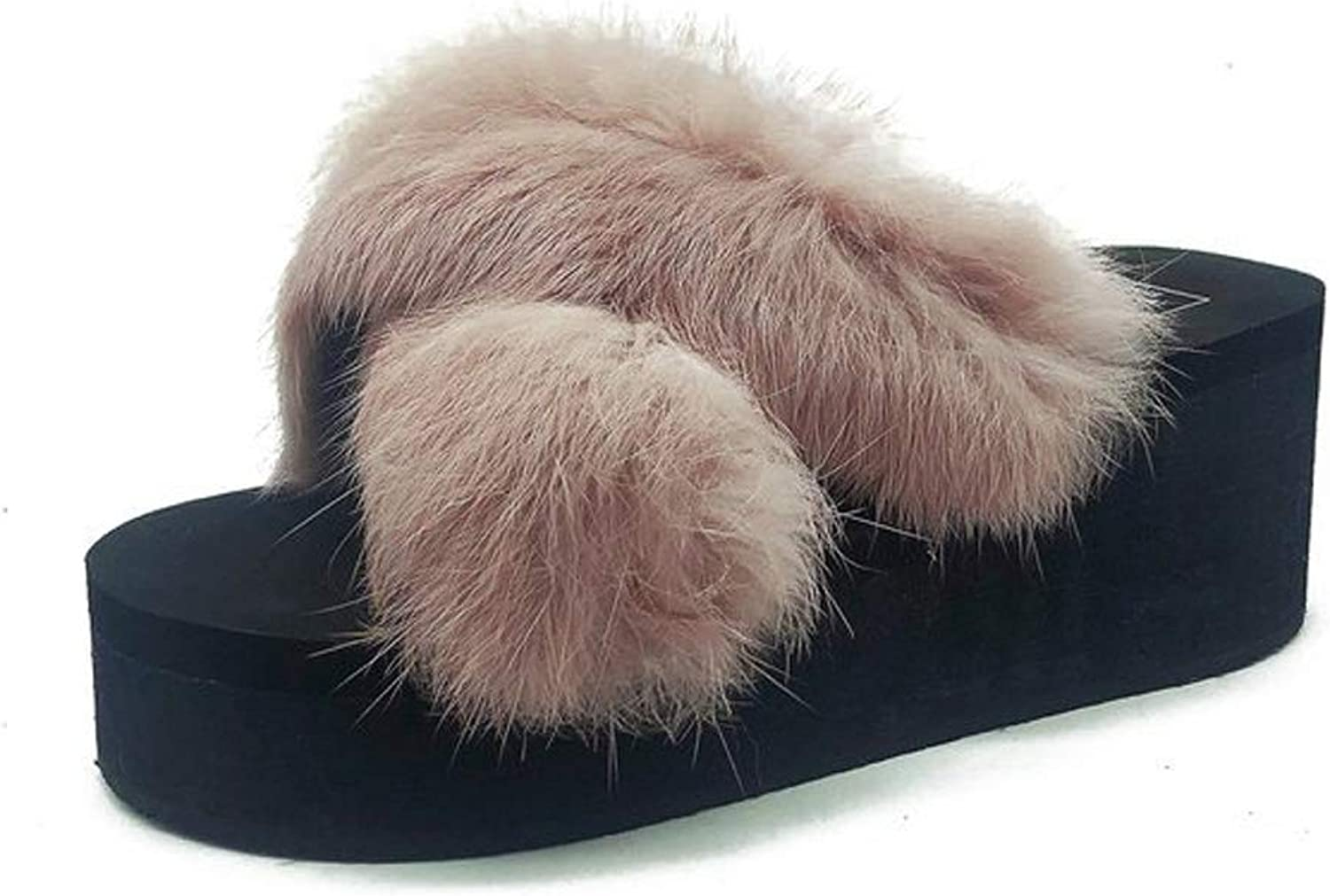Womens Slippers Faux Plush Wedge Heel Slippers & Flip-Flops with Open Toe Home Outdoor shoes for Fall Winter