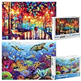 2 Pack Puzzles for Adults 1000 Piece, Seaworld and Colorful World Jigsaw Puzzles 1000 Piece Puzzles for Adults, 1000 Piece Puzzles Adult Puzzles Kids Puzzles
