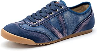 PengCheng Pang Fashion Sneaker for Men Athletic Sports Fabric Shoes Lace up Style Breathable Casual Daily Outdooor Walking Flat (Color : Blue, Size : 8 UK)