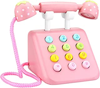 Simulation Wooden Phone Toys Educational Children Dollhouse Gifts Pretend Play Toys - Pink