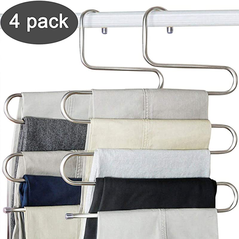 Devesanter Pants Hangers S Shape Trousers Hangers Stainless Steel Clothes Hangers Closet Space Saving For Pants Jeans Scarf Hanging Silver 4 Pack With 10 Clips