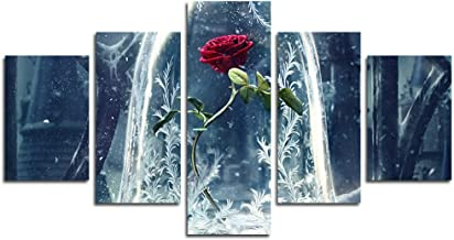 AtfArt Print Painting Canvas, 5 Pieces Beauty and Beast Rose Flower Canvas Wall Art Painting for Home Living Room Office Mordern Decoration Gift(Unframed)…