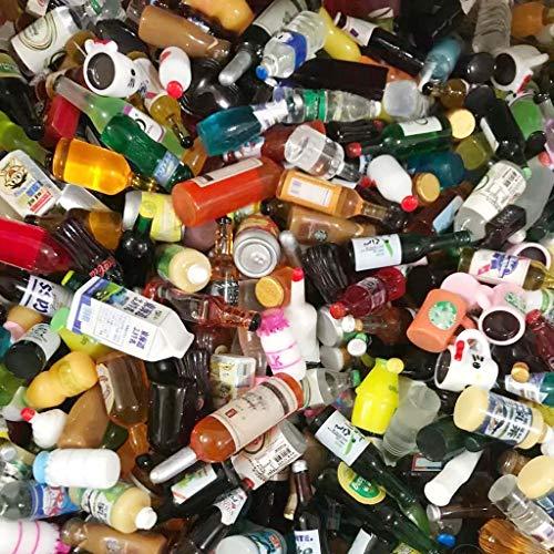Juland 40 mini botellas de vino de resina en miniatura, para decoración de comedores, zumo, vajilla, botellas, casa de muñecas, bebidas, funda para teléfono móvil, uñas artísticas patrón aleatorio CH4