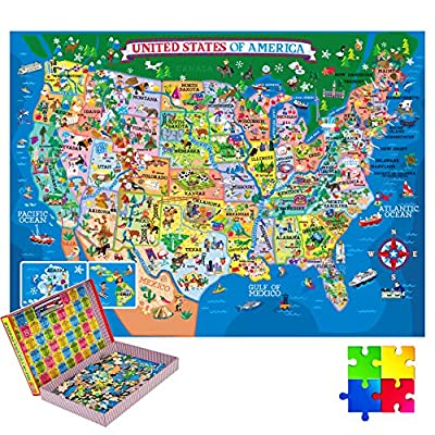 200 Pieces USA Map Jigsaw Puzzles Jumbo Learning & Education Toys, Floor Puzzles Great Gift for Kids Educational Intellectual Decompressing Geography Play on Floor