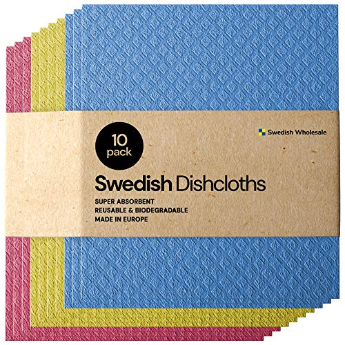 Swedish Dishcloth Cellulose Sponge Cloths - Bulk 10 Pack of Eco-Friendly No Odor Reusable Cleaning...