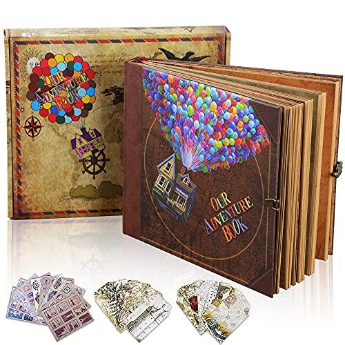 ZUNTO Album Fotografico, Retro Scrapbook Album Foto Fai Da Te albumportafoto Our Adventure Book con Tasca Interna Espandibile(22x19,5cm, 74 Pagine)