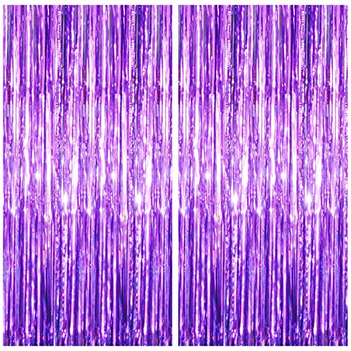 Xtozon 2 Pack 3.3 ft x 8.3 ft Foil Fringe Metallic Curtain, Tinsel Backdrop, Shimmer Foil Rain Curtain for Birthday Party Photo Backdrop Wedding Decorations (Purple)
