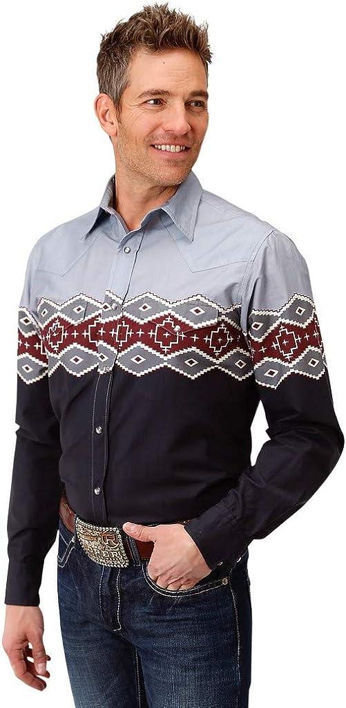 Roper Men's Aztec Border Print Long Sleeve Western Shirt - 03-001-0431-0613
