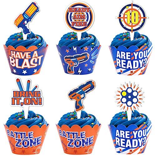 Cracoo Dart War Party Cupcake Toppers Wrappers Kids Birthday Gun Picks Target Bullet Dart War Party Supplies Decoration 48 Piece