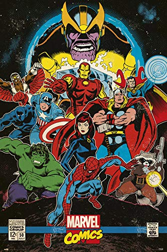 Grupo Erik Editores Poster Marvel Comics Infinity Retro, Multicolor, 61 X 91.5 Cm