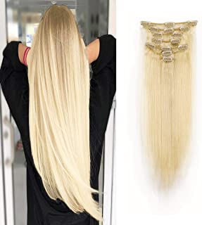 100% Remy Human Hair Clip in Extensions 16''-22'' Grade 7A Quality Thick Long Soft Silky Straight 7pcs for Women Beauty