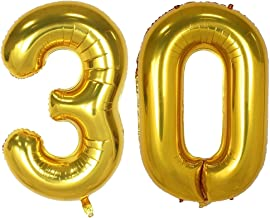40inch Gold Number 30 Balloon Party Festival Decorations Birthday Anniversary Jumbo foil Helium Balloons Party Supplies use Them as Props for Photos (40inch Gold Number 30)