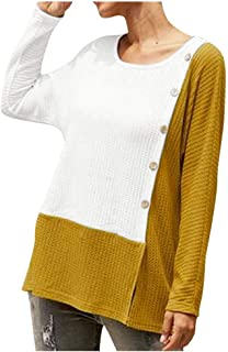 Remanlly Women's Fashion Plus Size Long Sleeve O-Neck Patchwork Print T-Shirt Top Blouse