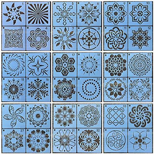 Gloryit 36 piezas Plantilla de Plástico Reutilizable, Plantillas de Pintura de Arte Grandes, Plantillas Reutilizables para pintura, pulverización, pintura a mano, tela, pared, muebles, decoración