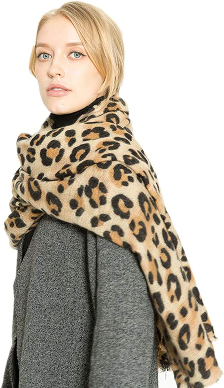 Retro Leopard Print Womens Soft Feel Shawls Wraps Big Long Winter Scarf