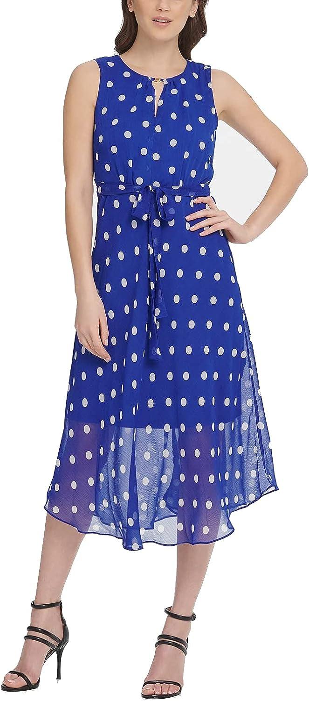 D K N Y Keyhole Polka-Dot Printed Chiffon Midi Dress, Marine Blue/Cloud 8