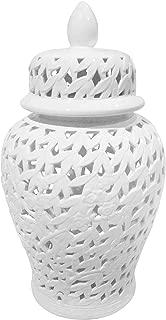 Sagebrook Home Pierced Ceramic Temple JAR, White, 13.75x13.75x24,