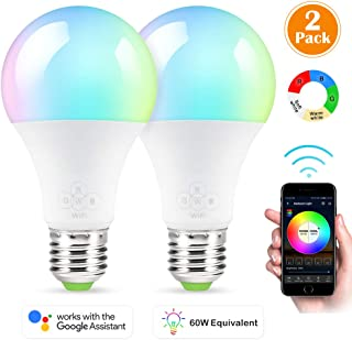 Smart Bulb, 2 Pack Nexlux Sunrise Wake-Up WiFi Lights,Cellphone Control Color Tunable Soft,Cool White,RGB Led Light Bulb 6.5W(60W Equivalent), Compatible with Alexa and Google Assistant