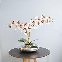 Arranjo com Duas Orquídeas Artificiais Tigre no Vaso Prateado   Linha Permanente Formosinha