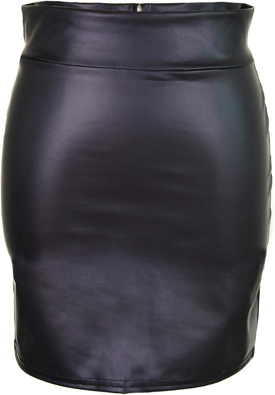 Women's Casual High-Waisted Matt High Waist Bag Hip Leather Slim Skirt