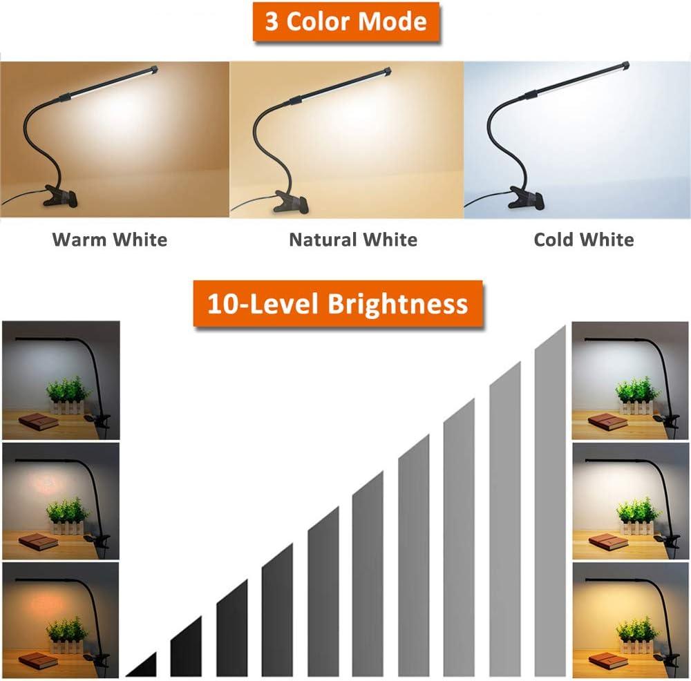 Tattoo Lampe 3 Farbwechsel /& 10 Helligkeit 8W USB Klemmleuchte mit Schalter und Kabel Schreibtischlampe Klemmbar Schwarz LED Klemmlampe Flexibel mit Schwanenhals Leselampe Bett Kinder