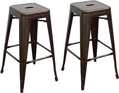 Fdw Metal Stools Bar Stools 24 Inch Height Stackable Barstools Indoor Outdoor Di