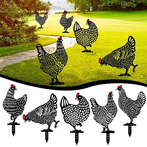Kidyawn 5PC Chicken Yard Art Outdoor Garden Backyard Lawn Stakes Metal Hen Yard Decor Gift Rooster Metal Art Lifelike Hen Ornament Decoration Garden Statues Black Chicken Silhouette