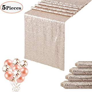 QueenDream 5-Pack Champagne Blush 12x108 Inches Sparkly Sequin Table Runners and Confetti Balloons and Rose Gold Latex Balloons as Gifts for Wedding Reception and Party Supplies