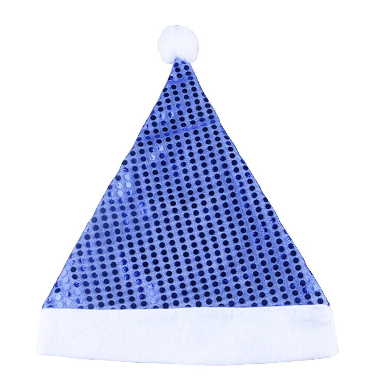チチカカ湖ペルメル文句を言うクリスマス サンタ 帽子 コスチューム用小物 スパンコール サンタクロース サンタ帽 5個 カラー (ブルー) [並行輸入品]