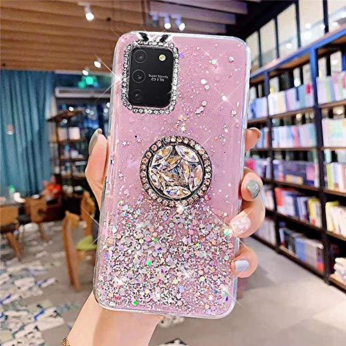 Uposao Kompatibel mit Samsung Galaxy S10 Lite Hülle Glitzer Silikon Handyhülle mit Ring Halter Ständer Schutzhülle für Mädchen Glänzend Bling Strass Diamant Transparent TPU Handyhülle,Rosa
