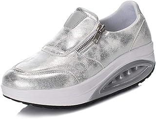 Zapatillas de Deporte con cuña para Mujer Zapatillas Impermeables de PU Gruesas con Cierre Inferior en Cremallera Planas d...