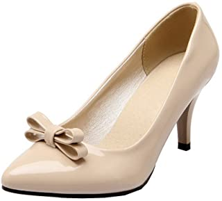 WeenFashion Women's Patent Leather Closed-Toe High-Heels Pull-On Pumps-Shoes