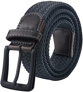 Mens Belt, Elastic Belt for Men, Black Belt Buckle Stretch Woven Belt
