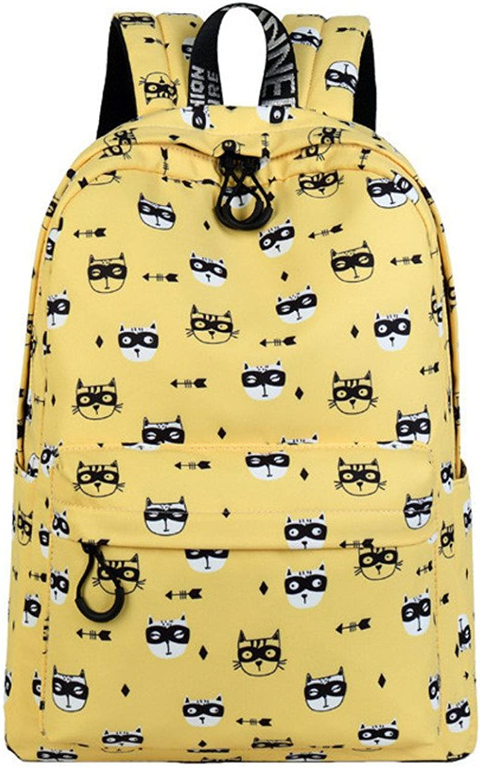 Cute Waterproof Polyester Women Backpack Glasses Cat Pattern Printing Girls College Latop Bookbags Yellow 15 Inches